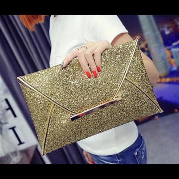 f20fa94e6 Bags | Women Formal Party Glitter Clutch Bag Gold Nwt | Poshmark